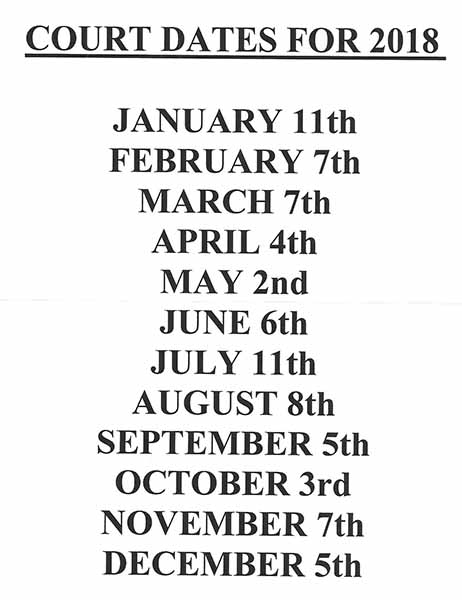 2018 headland court dates